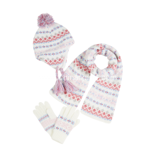 Fairisle Knitted hat scarf set
